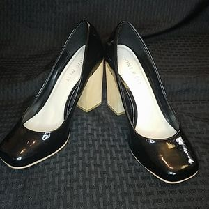 Nine West Howboutme Black Wood Block Pump Heels 7M
